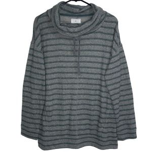 Lou & Grey Striped Cowl Neck Soft Sweater L